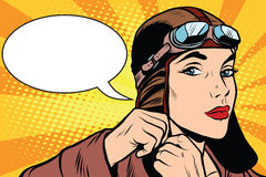 Woman retro military pilot Stock Photography
