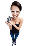 Woman with retro photographic camera Royalty Free Stock Photos