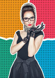 Woman in retro pin-up style on halftone background Stock Photography