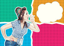 Woman in retro pin-up style shouting with her hand on halftone b Royalty Free Stock Photo