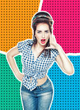 Woman in retro pin-up style shouting with her hand on halftone b Royalty Free Stock Photos