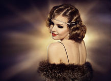 Woman Retro Portrait, Fashion Model Turning over Shoulder Stock Photos