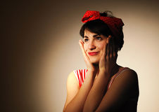 Woman in retro style. Royalty Free Stock Photos