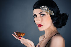 Woman in retro style. With beautiful makeup Royalty Free Stock Images