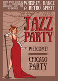 Woman in retro style singing jazz music Royalty Free Stock Image