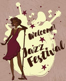 Woman in retro style singing jazz music Stock Images