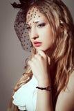Woman retro styled portrait Stock Photos