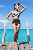 Woman in retro swimsuit Royalty Free Stock Photos