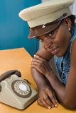 Woman with retro telephone Royalty Free Stock Images