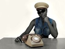 Woman with retro telephone Royalty Free Stock Photo
