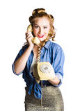 Woman with retro telephone Royalty Free Stock Image