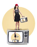 Woman on retro television set Royalty Free Stock Photo