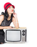 Woman on retro TV. Fifties copyspace broadcast Stock Images