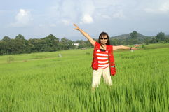 Woman in rice field Royalty Free Stock Photos
