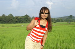Woman in rice field Stock Photos