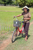 Woman on the rice field Royalty Free Stock Photos