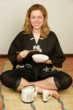 Woman with rice and seafood Royalty Free Stock Photo
