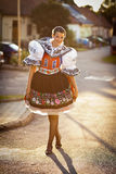 Woman in a richly decorated ceremonial folk dress Royalty Free Stock Photos