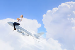 Woman ride airplane Royalty Free Stock Images