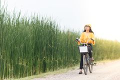 Woman ride bicycle
