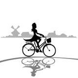 Woman Ride Bicycle Elegant Silhouette Fashion Dress Stock Photos