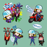 Woman ride. Woman with her motorcycle comes along with so many posture Royalty Free Stock Images