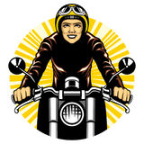 Woman ride a motorcycle Stock Photos