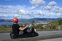 Woman ride on Skyline Rotorua Luge Stock Images