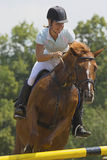 Woman rider in equestrian race jumps Stock Photo