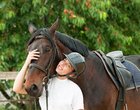 Woman rider and horse Stock Photography