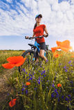 Woman riding a bicycle on a blooming poppy meadow Stock Images