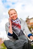 Woman riding bicycle. Royalty Free Stock Photo