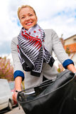 Woman riding bicycle. Stock Photos