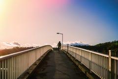 Woman riding a bicycle climbs the bridge.  Stock Photo