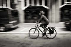 Woman riding a bicycle down the street. Amsterdam. Black and white. Netherlands Royalty Free Stock Images