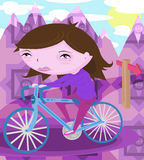 Woman Riding Bicycle Stock Image