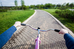 Woman riding a bicycle in park, handlebar view. Stock Photos