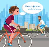 Woman Riding Bicycle in Park Vector Poster Layout stock illustration