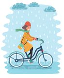 A woman riding a bicycle through the Plenty Park in Krakow, Poland on a rainy day. Vector cartoon illustration of happy woman in coat riding a bicycle through stock illustration