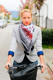 Woman riding bicycle. Stock Photo