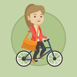 Woman riding bicycle vector illustration. Royalty Free Stock Photography