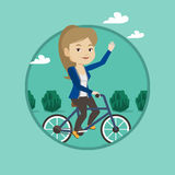 Woman riding bicycle vector illustration. Stock Photography