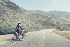 Woman riding bicycle Royalty Free Stock Images