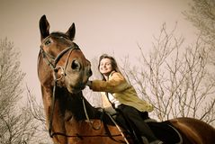 Woman riding on big browm horse Stock Photos