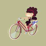 Woman riding a bike with her baby. Mother and son on a bicycle. character isolated. vector illustration Royalty Free Stock Photography