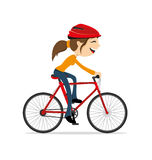 Woman riding a bike Royalty Free Stock Photo