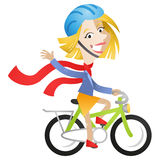 Woman riding bike. Vector illustration of a cartoon character: Woman riding bike waving and wearing red scarf Stock Image