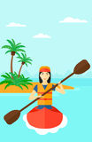 Woman riding in canoe. Stock Images