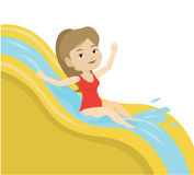 Woman riding down waterslide vector illustration. Stock Image