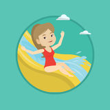 Woman riding down waterslide vector illustration. Royalty Free Stock Image